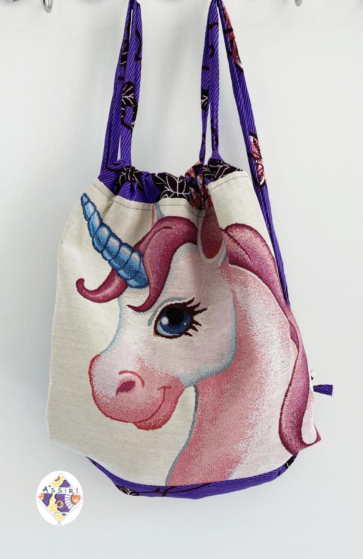 zainetto bimba-bimbo con stampa unicorno